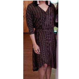 Zara golden brown wrap dress